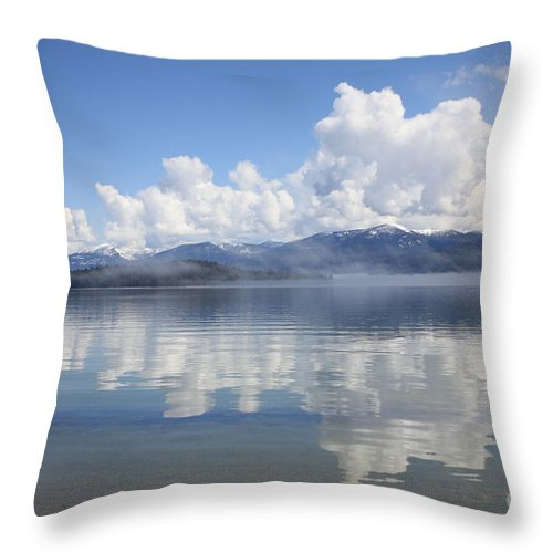 Clouds Throw Pillow featuring the photograph Cloud Reflection On Priest Lake by Carol Groenen
