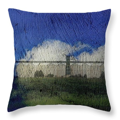 Silo Throw Pillow featuring the digital art Cloud Silo by Derick Burke