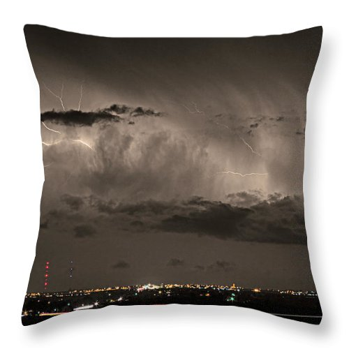 Bouldercounty Throw Pillow featuring the photograph Cloud To Cloud Lightning Boulder County Colorado Sepia Color Mix by James BO Insogna