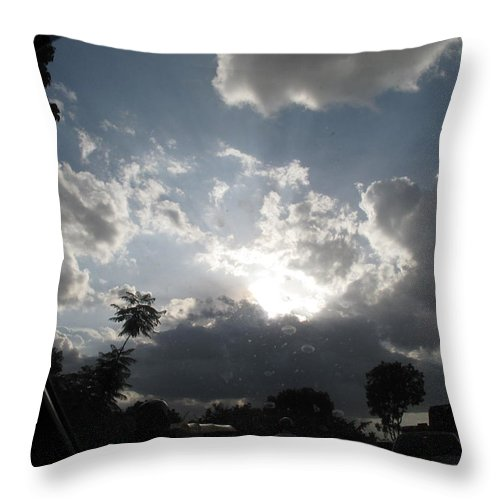 Dark Clouds Throw Pillow featuring the photograph Clouds Buildup by Asha Sudhaker Shenoy