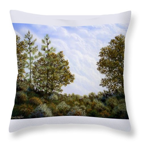 Landscape Throw Pillow featuring the painting Clouds In Foothills by Frank Wilson