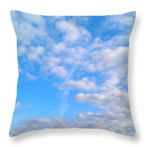 Blue Sky Throw Pillow featuring the photograph Clouds by Kimberly Watt