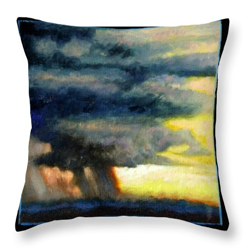 Storm Clouds Throw Pillow featuring the painting Clouds Number Eight by John Lautermilch