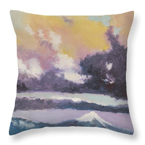 Mountain Throw Pillow featuring the painting Clouds Of Mt Hood by Craig Newland