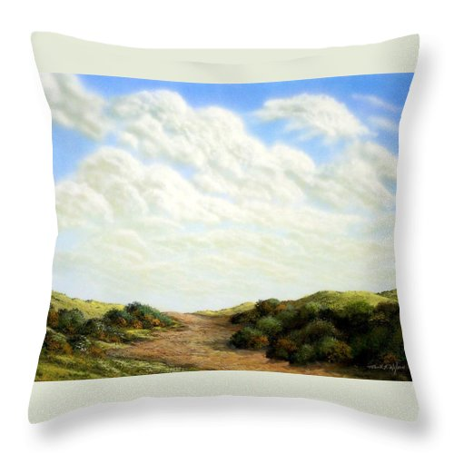 Landscape Throw Pillow featuring the painting Clouds Of Spring by Frank Wilson