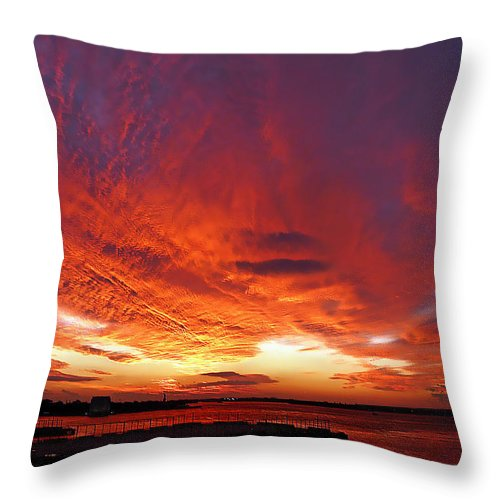 Clouds Throw Pillow featuring the photograph Clouds On Fire by Kendall Eutemey