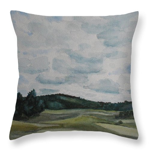 Mountains Throw Pillow featuring the painting Clouds Over Boot Hill by Jenny Armitage