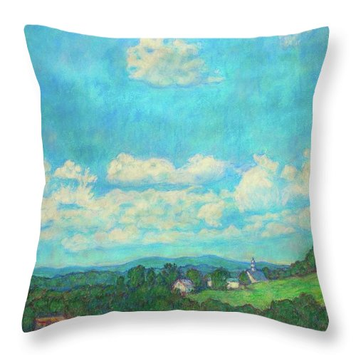 Landscape Throw Pillow featuring the painting Clouds Over Fairlawn by Kendall Kessler
