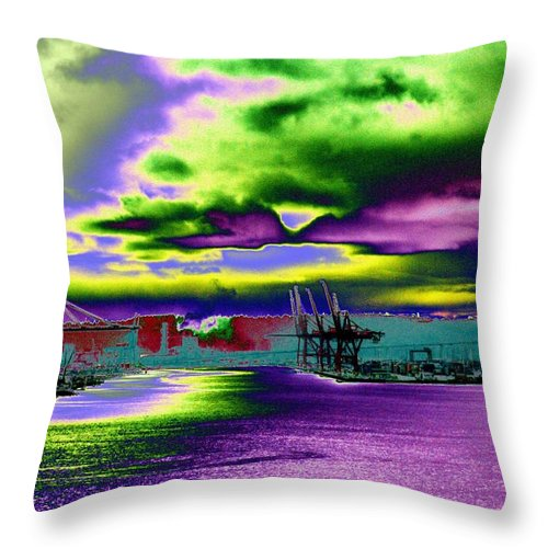 Seattle Throw Pillow featuring the photograph Clouds Over Harbor Island by Tim Allen