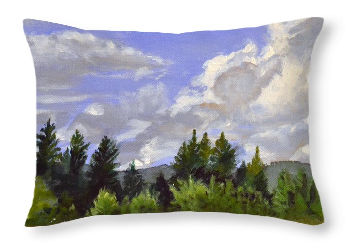 Clouds Throw Pillow featuring the painting Clouds Over Lace by Mary Chant