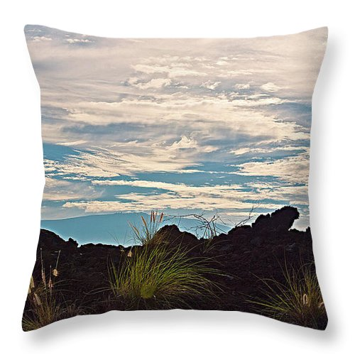 Hawaiian Landscape Throw Pillow featuring the photograph Clouds Over Mauna Kea by Bette Phelan