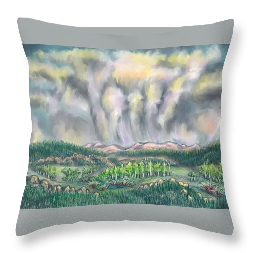Landscape Throw Pillow featuring the drawing Clouds Over Medicine Bow Peak by Dawn Senior-Trask