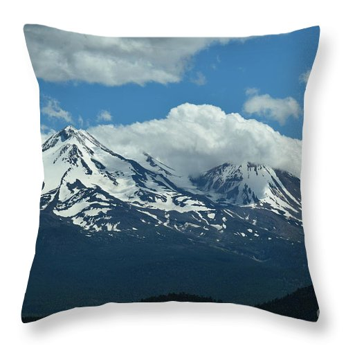 Mount Shasta Throw Pillow featuring the photograph Clouds Over Mt Shasta by LKB Art and Photography