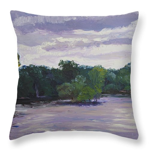 Landscape Throw Pillow featuring the painting Clouds Over The Lake by Lea Novak