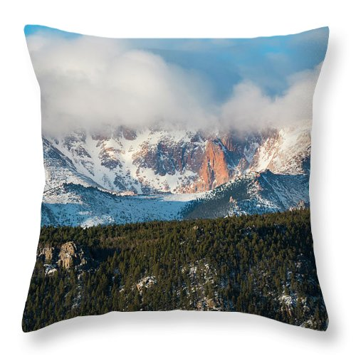 Pikes Peak Throw Pillow featuring the photograph Clouds Receding On Pikes Peak by Steve Krull