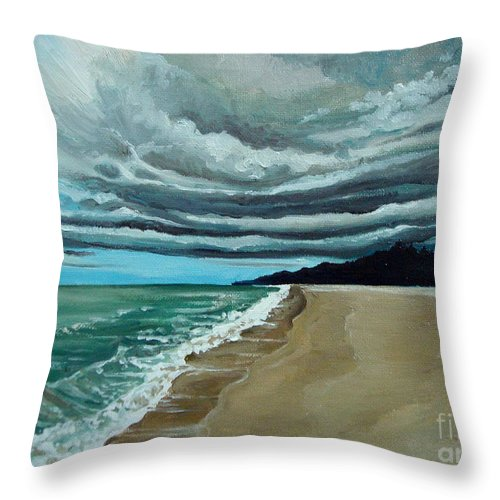 Landscape.beach Throw Pillow featuring the painting Clouds Rolling In by Elizabeth Robinette Tyndall