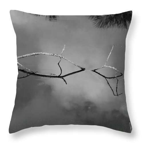 Black And White Throw Pillow featuring the photograph Cloudy Bridge by Rob Hans