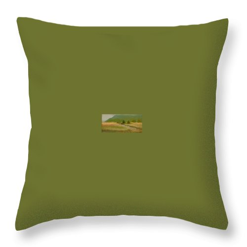 Oil Landscape Throw Pillow featuring the painting Cloudy Day At Iona Marsh by Phyllis Tarlow