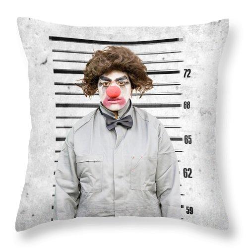 Activity Throw Pillow featuring the photograph Clown Mug Shot by Jorgo Photography - Wall Art Gallery