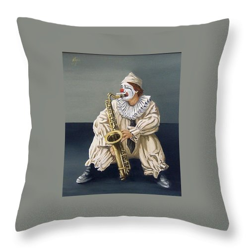 Clown Figurative Portrait People Throw Pillow featuring the painting Clown by Natalia Tejera