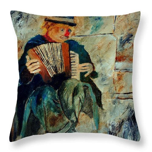 Music Throw Pillow featuring the painting Clown by Pol Ledent