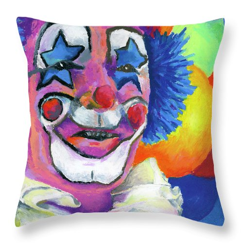 Clown Throw Pillow featuring the painting Clown With Balloons by Stephen Anderson