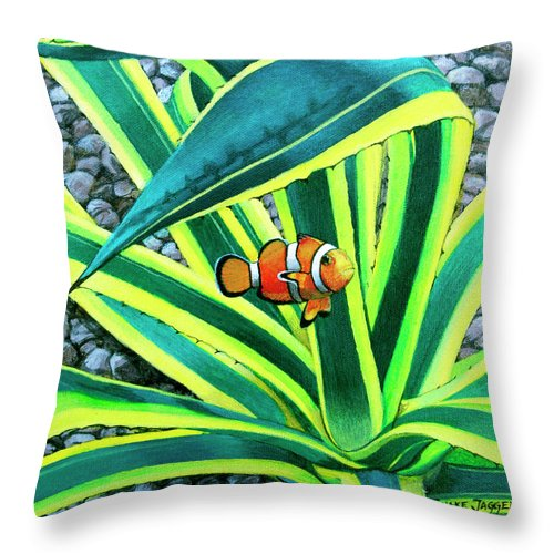 Fish Throw Pillow featuring the painting Clownfish by Snake Jagger