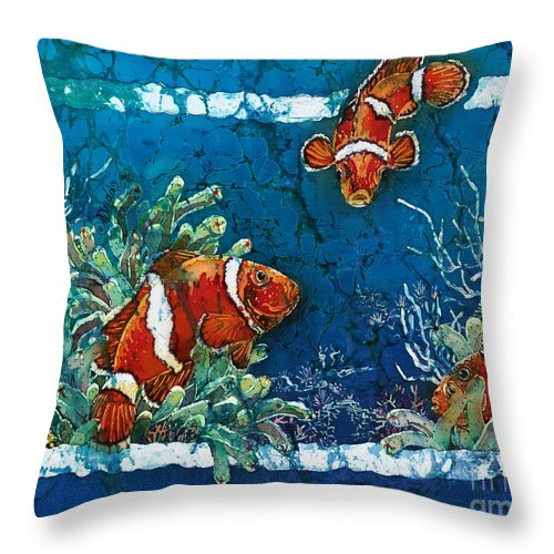 Ocean Throw Pillow featuring the painting Clowning Around - Clownfish by Sue Duda