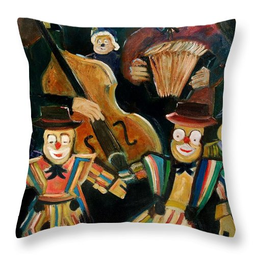 Clowns Circus Throw Pillow featuring the print Clowns by Pol Ledent