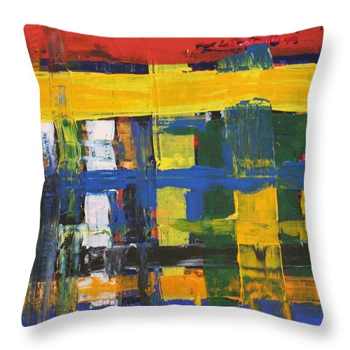 Red Throw Pillow featuring the painting Club House by Pam Roth O'Mara