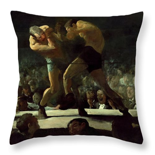 Club Night Throw Pillow featuring the painting Club Night by George Wesley Bellows