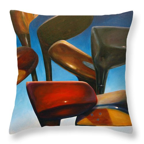 Golf Clubs Brown Throw Pillow featuring the painting Clubs Rising by Shannon Grissom