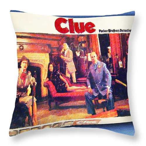 Clue Throw Pillow featuring the painting Clue Board Game Painting by Tony Rubino