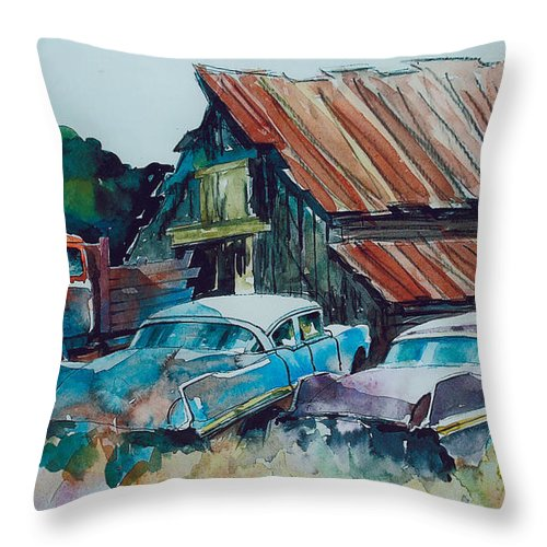 Ford Cabover Throw Pillow featuring the painting Cluster of Restorables by Ron Morrison