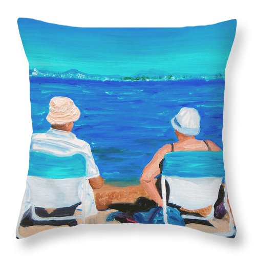 Beach Scene Throw Pillow featuring the painting Clyde And Elma At The Beach by Michael Lee