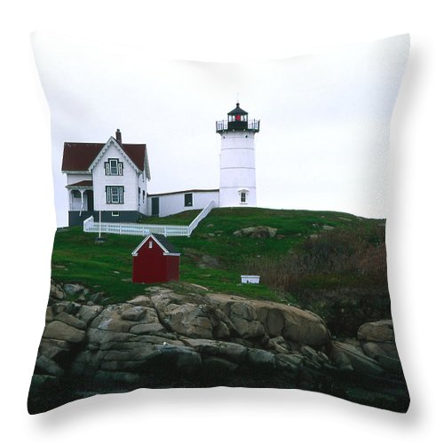 Landscape Lighthouse Nautical New England Nubble Light Cape Neddick Throw Pillow featuring the photograph Cnrf0502 by Henry Butz