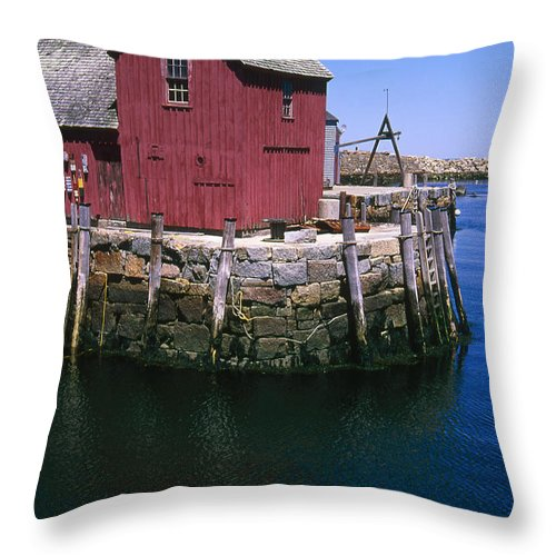 Landscape New England Rockport Motif Number 1 Throw Pillow featuring the photograph Cnrf0506 by Henry Butz
