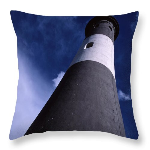 Landscape Lighthouse Fire Island Throw Pillow featuring the photograph Cnrf0701 by Henry Butz