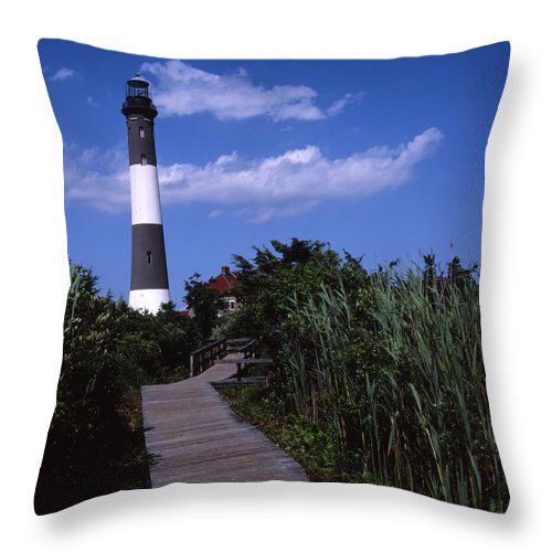 Landscape Lighthouse Fire Island Throw Pillow featuring the photograph Cnrf0702 by Henry Butz