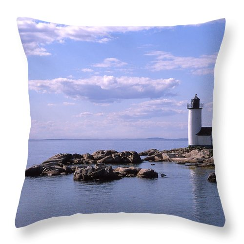 Landscape Lighthouse New England Nautical Throw Pillow featuring the photograph Cnrf0901 by Henry Butz