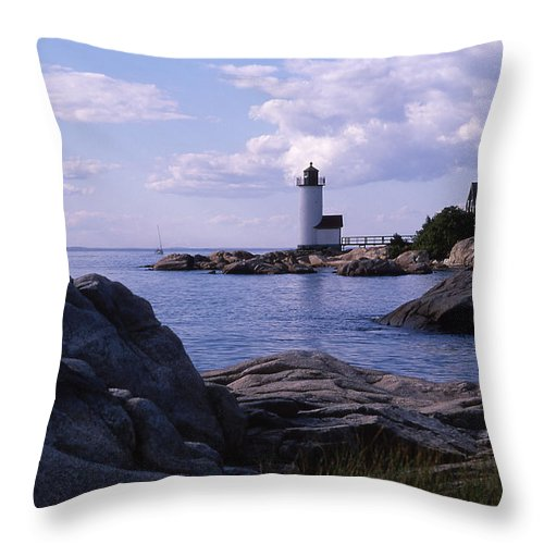 Landscape Lighthouse New England Annisquam Harbor Light Gloucester Throw Pillow featuring the photograph Cnrf0903 by Henry Butz