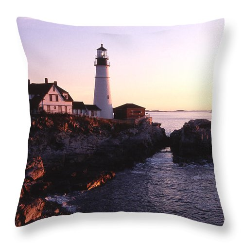 Landscape Lighthouse Nautical New England Portland Head Light Cape Elizabeth Throw Pillow featuring the photograph Cnrf0904 by Henry Butz