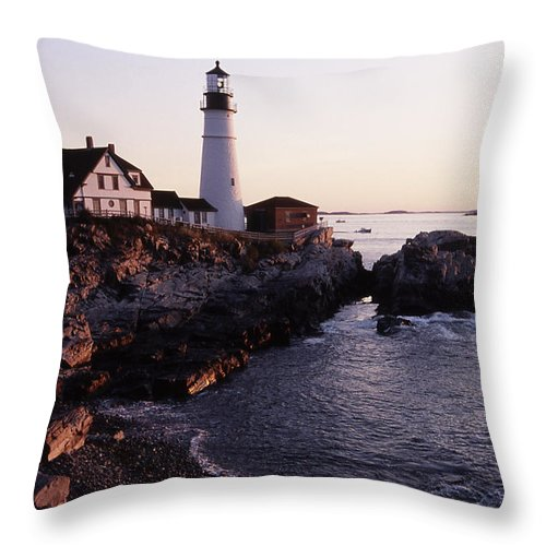 Landscape Lighthouse Nautical New England Portland Head Light Cape Elizabeth Throw Pillow featuring the photograph Cnrf0905 by Henry Butz