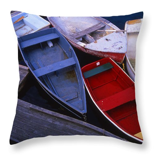 Landscape New England Boat Fishing Nautical Coast Throw Pillow featuring the photograph Cnrf0906 by Henry Butz