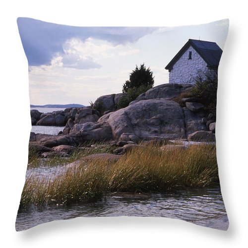Landscape Beach Storm Throw Pillow featuring the photograph Cnrf0909 by Henry Butz
