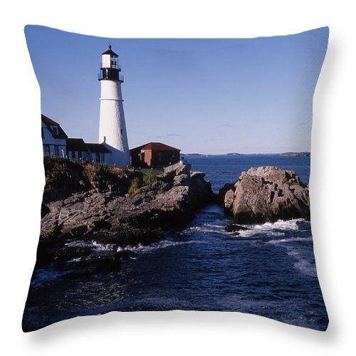 Landscape New England Lighthouse Nautical Coast Throw Pillow featuring the photograph Cnrf0910 by Henry Butz