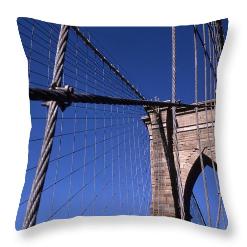 Landscape Brooklyn Bridge New York City Throw Pillow featuring the photograph Cnrg0405 by Henry Butz