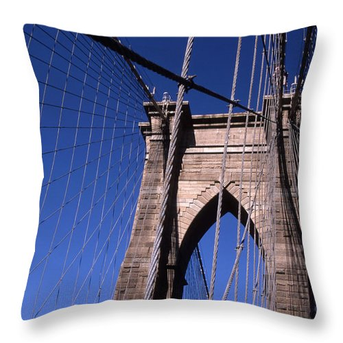 Landscape Brooklyn Bridge New York City Throw Pillow featuring the photograph Cnrg0406 by Henry Butz