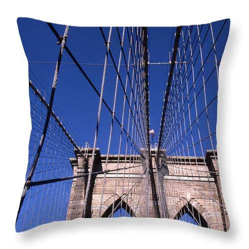 Landscape Brooklyn Bridge New York City Throw Pillow featuring the photograph Cnrg0407 by Henry Butz