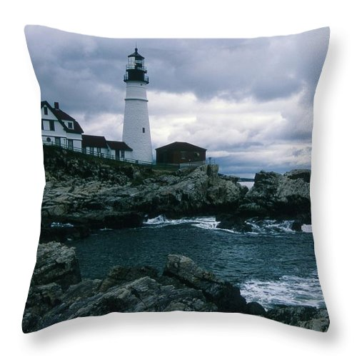 Landscape New England Lighthouse Nautical Storm Coast Throw Pillow featuring the photograph Cnrg0601 by Henry Butz